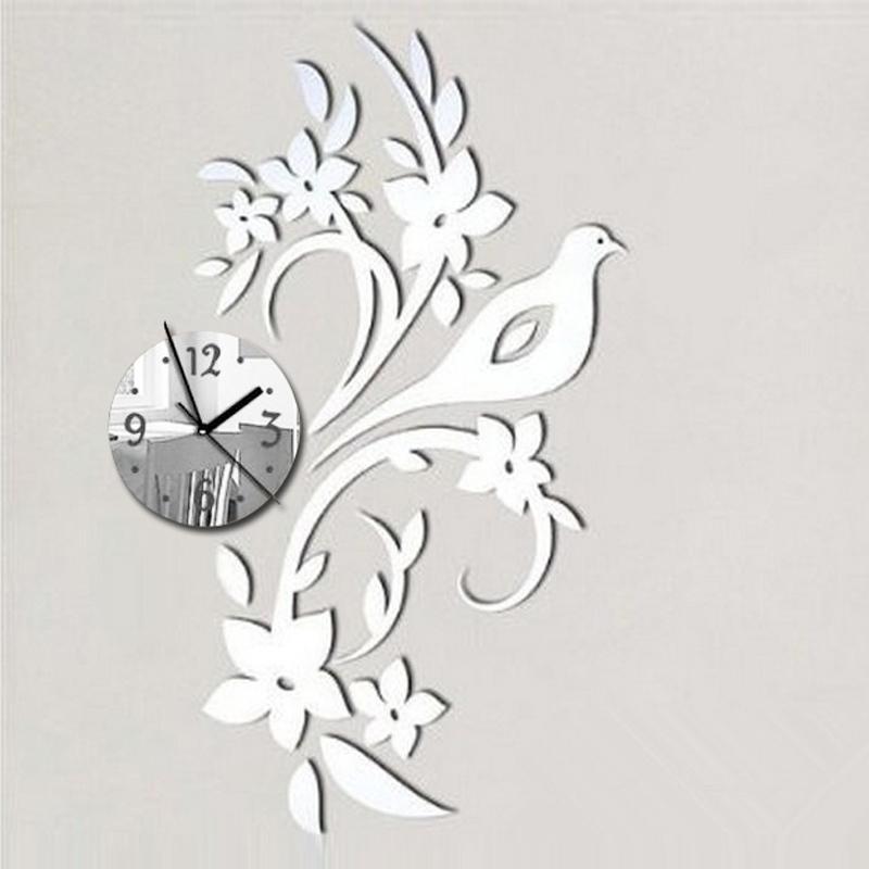 2016 New Acrylic Mirror 3d Stickers Wall Clock Quartz Watch Clocks Reloj De Pared Modern Design Horloge Large Decorative Needle(China (Mainland))