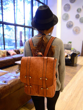 Backpack in British college students wind restoring ancient ways bag PU leather  shoulders dual women bag(China (Mainland))