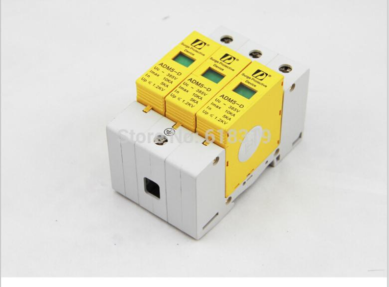 SPD 3P 5KA~10KA 385V AC Class D House Surge Protector protection Protective Low-voltage Arrester Device(China (Mainland))