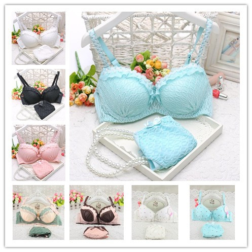 2014 new push up women bra set cute 32 34 36 A B C cup young girl sexy lace cotton underwear suit free shipping(China (Mainland))
