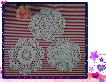 Handmade Crochet doily 3 designs cup Pad mats table cloth coasters 18-20cm 30pc/lot Custom Colors