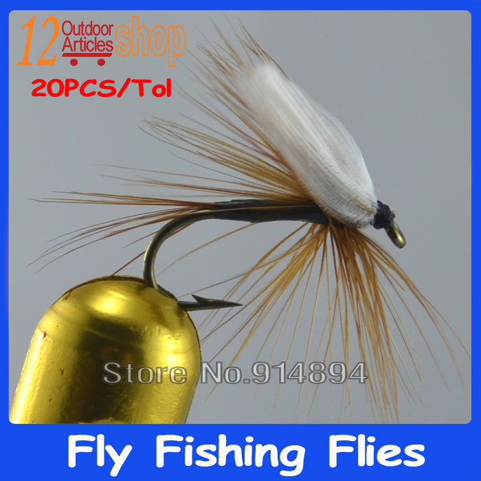 20pcs/lot Size #10 Fly Fishing Mayfly Adult Customize Fly Fishing Tyings high quality white wing Fake insects fly hooks(China (Mainland))