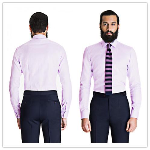 Summer style 100 cotton lavender herringbone dress shirt for 100 cotton dress shirt
