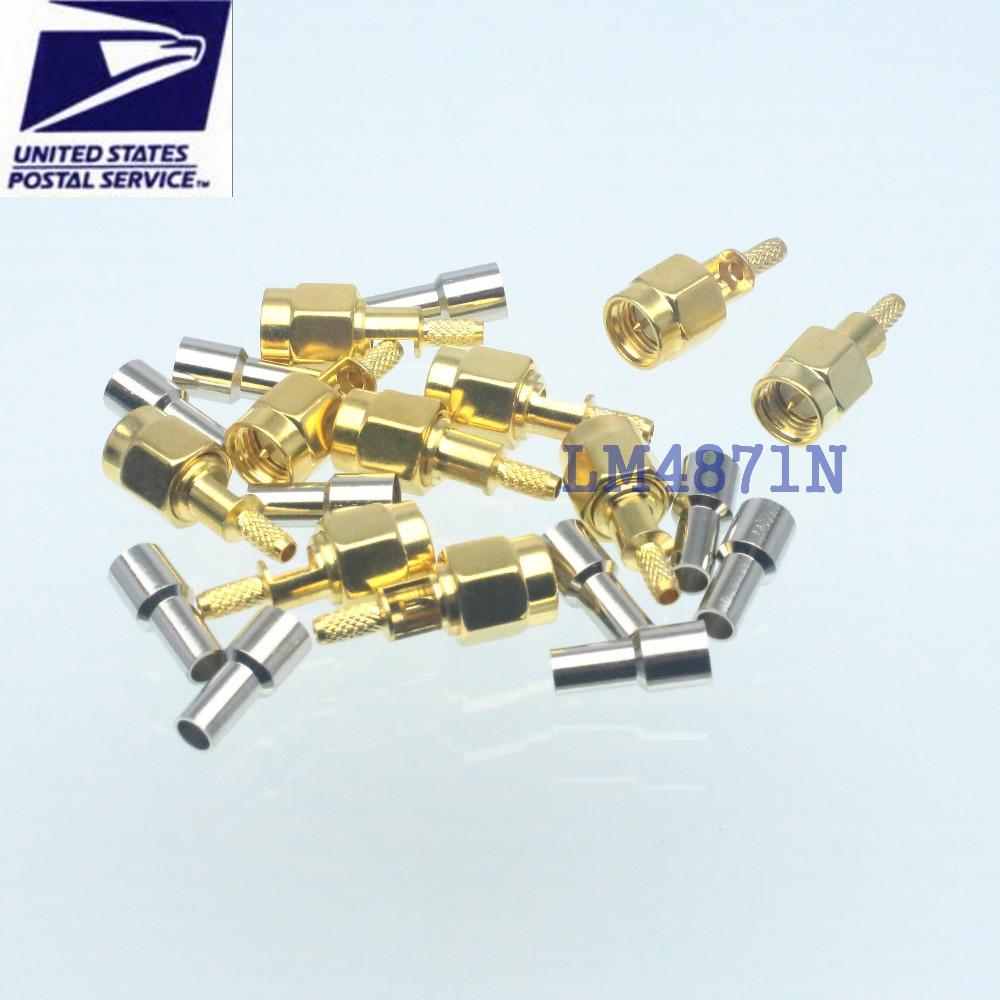 10pcs Connector SMA male plug window crimp RG174 RG316 LMR100 cable straight(China (Mainland))