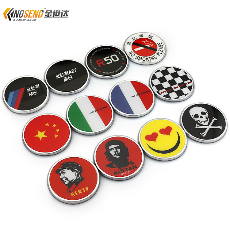 South Korean new personalized car decoration stickers round models Car Stickers for BMW Mercedes-Benz flag car stickers Emblems(China (Mainland))