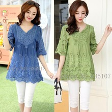 Buy Casual 2017 summer Women Blouses vintage Embroidery Shirt Short Sleeve blouse ladies floral tops womens clothing plus size for $14.14 in AliExpress store