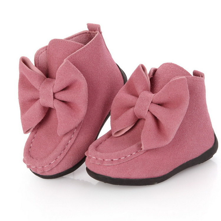 2015 Autumn Spring Girl s Bowknot Boots Flat Children Princess Shoes Rubber Bottom Fashion Kids Casual