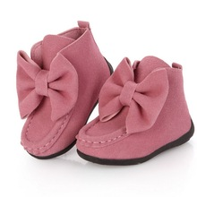 2015 New Spring Kids Boots for Girls 2 Colors Children Flat Solid Bow Boots Fashion Trench Kids Brief Shoes 4-15 Years, HJ038