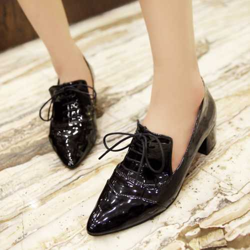 High Qulaity Casual Dress Lace Up Pumps OL Working Shoes Pointed Toe Sexy Low Heels Square Heeled Solid Pumps<br><br>Aliexpress