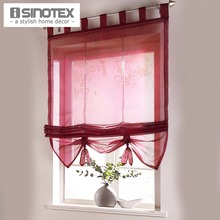 Roman Curtain Floral Printing Sheer Window Curtain For Kitchen Living Room Voile Screening Panel 1 PCS/Lot With Plastic Tubes(China (Mainland))