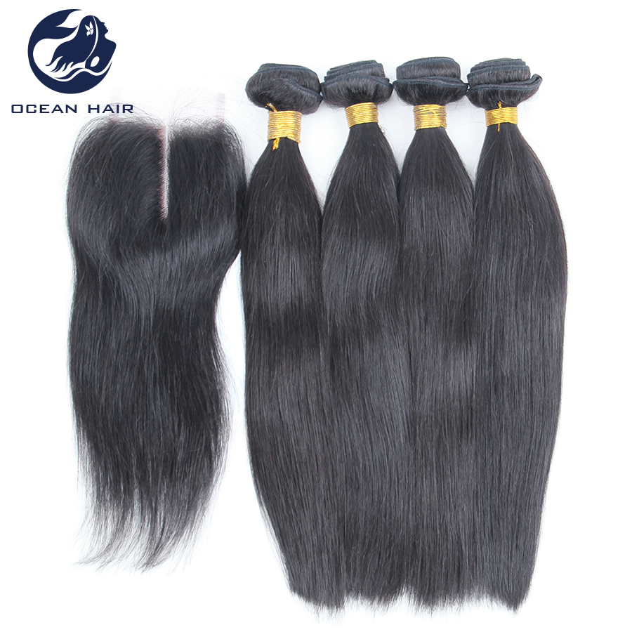 4-Bundles-Peruvian-Virgin-Straight-Hair-With-Closure ...