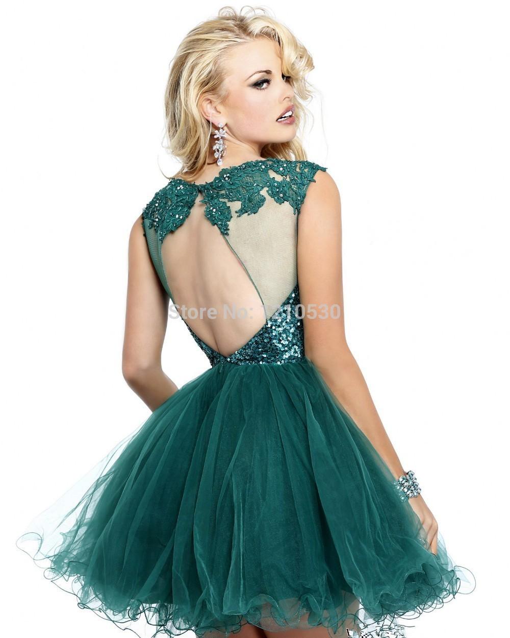 Выпускное платье короткое с открытой спиной