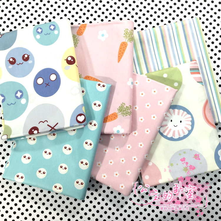 New 50cm*40cm cute cartoon 100% Cotton Fabric for Sewing Patchwork Bedding Fabric DIY Baby Cloth Textiles 6pcs(China (Mainland))