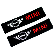 2pcs/set Car Seat Belt Cover Shoulder Pads Cotton Embroidered case for Mini Cooper Ford focus mitsubishi(China (Mainland))