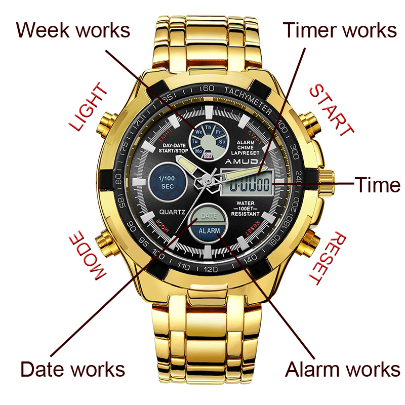 2016 New Luxury Brand AMUDA Men Army Military Watch Men's Quartz LED Digital Clock Full Steel Wrist Watch Men Sports Watches(China (Mainland))