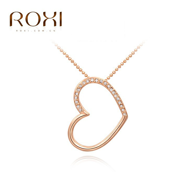 ROXI fashion empty heart necklace Christmas Birthdays gifts Austrian crystal Environmental hollow Jewelry 2030233390