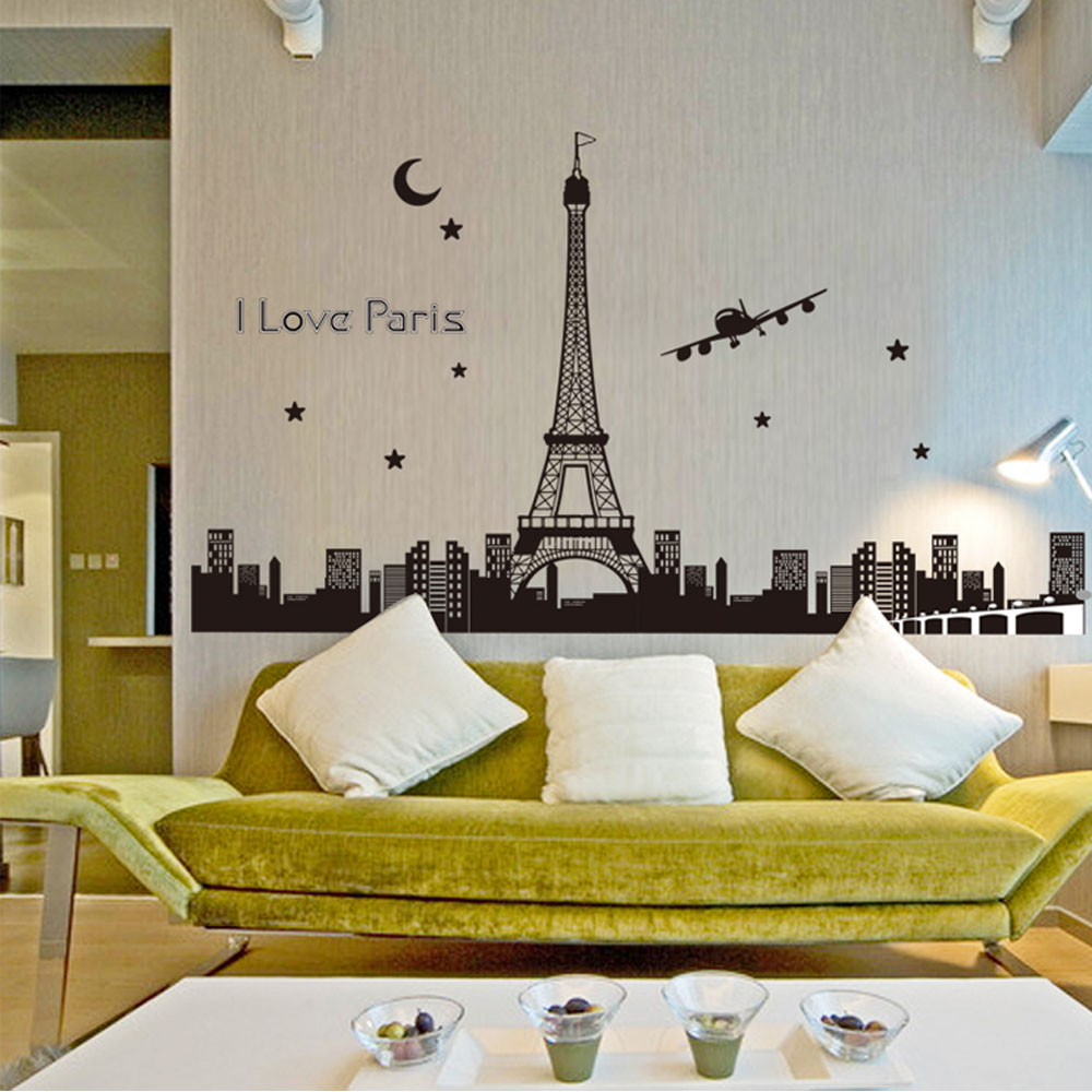 high quality eiffel tower wallpapers promotion shop for high night sky eiffel tower moon star city building view paris noctilucent diy wall wallpaper stickers art decor mural room decal