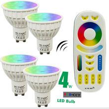 4W Mi Light LED Bulb Lamp Light Dimmable MR16 GU10 RGB CCT(2700-6500K) Spotlight Indoor Decoration + 2.4G RF LED Remote Control(China (Mainland))