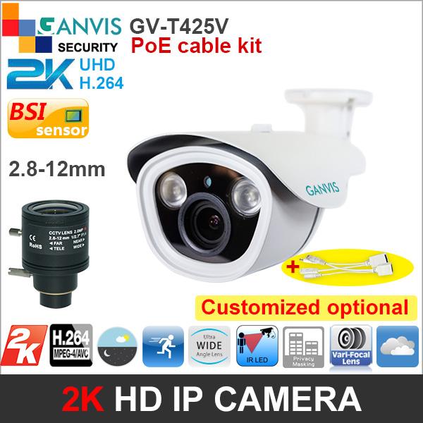 2K super HD IP camera with PoE cable 2.8-12mm 4mp more than 1080P 720P #heater optional cctv surveillance camera GANVIS GV-T425V(Hong Kong)