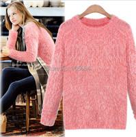 к 2015 году новых моды женщин твердых тонкий o шеи на пуловер мохеровый длинные свитер дамы визуализации теплой непринужденной Трикотажная блузка yt624