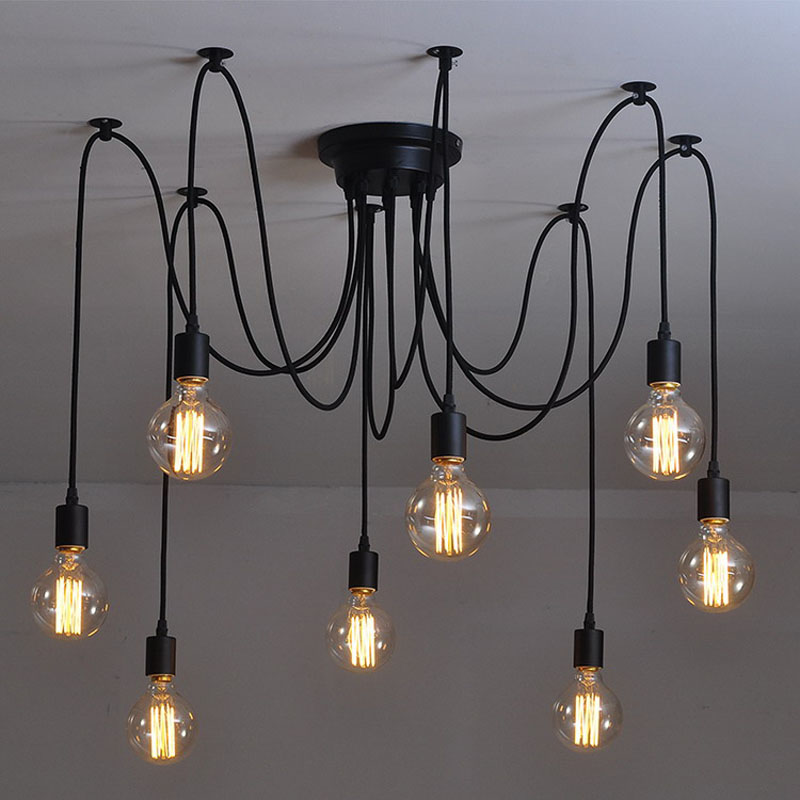 Modern Nordic Retro Edison Bulb Light Chandelier Vintage Loft Antique Adjustable DIY E27 Art Spider Pendant Lamp Home Lighting(China (Mainland))