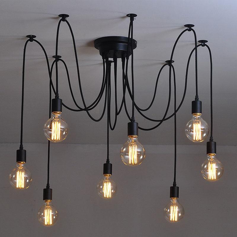 Mordern Nordic Retro Edison Bulb Pendant chandelier Vintage Loft Antique Adjustable DIY E27 Art Spider Ceiling Lamp Fixture<br><br>Aliexpress