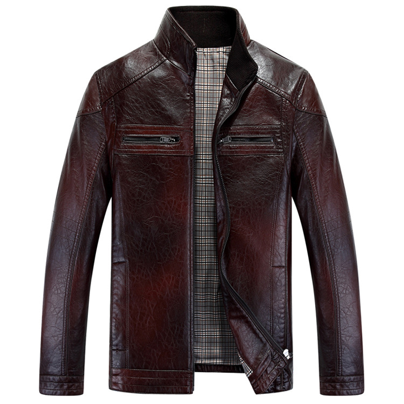 2015 New Fashion Stand Collar Men Leather Coat Jacket High Quality Two Colors Veste Homme Cuir