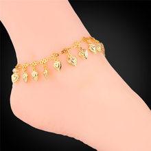 U7หัวใจเสน่ห์สร้อยข้อมือข้อเท้าที่ขาสีทองฤดูร้อน(China)