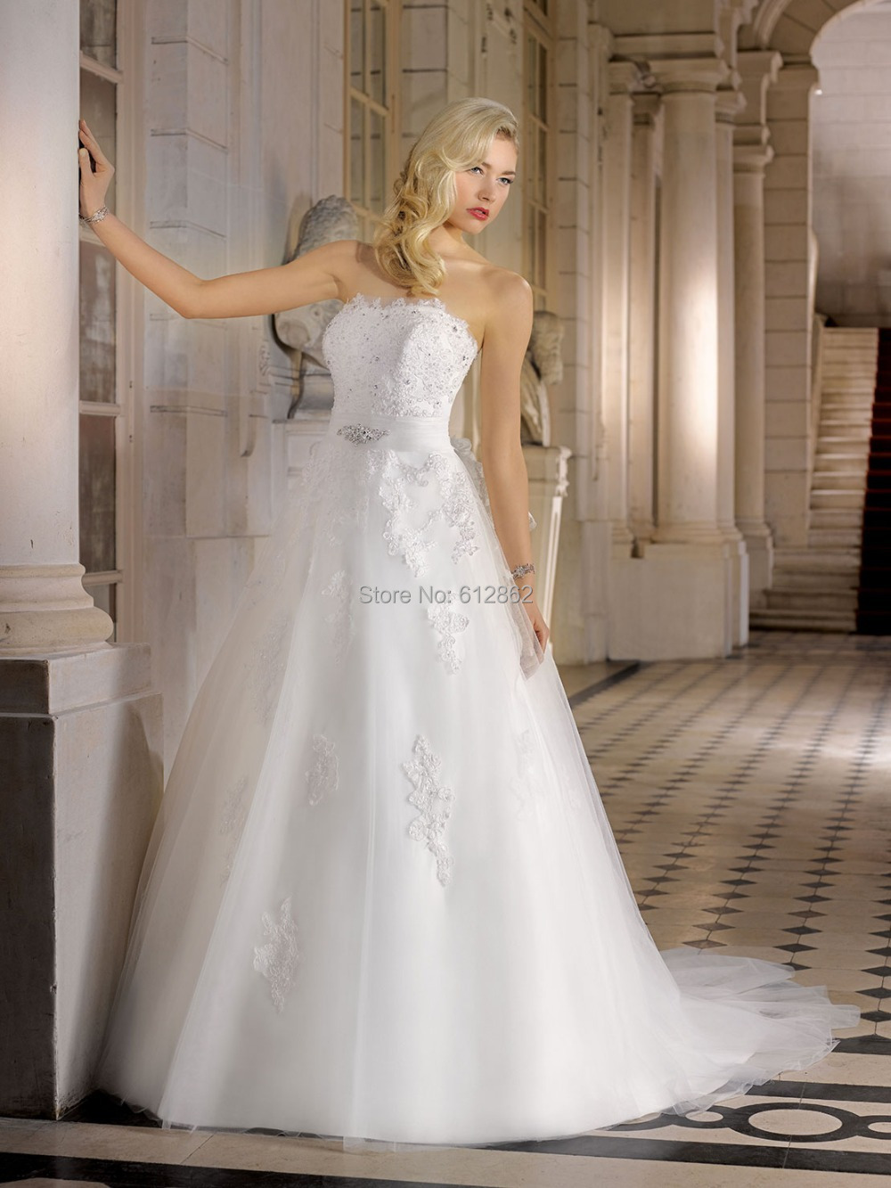 Strapless beaded lace a line long train wedding reception for Strapless wedding dresses with long trains