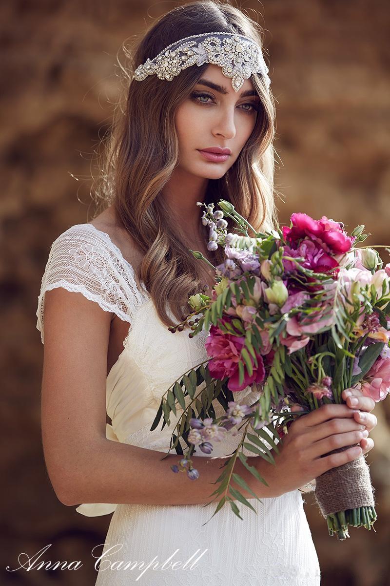 2016 Anna Campbell Lace Beach Wedding Dresses Cap Sleeves Low Back Bohemian Bridal Marriage Dresses Boho