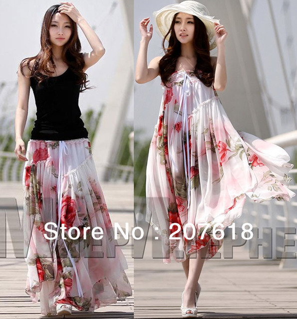 2013 Summer Dresses Women Print Strapless Chiffon Dress Ladies Beach Party Bohemian Maxi Long Dress