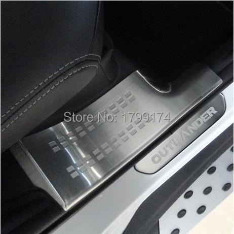 Купить Стайлинга автомобилей 304 Нержавеющая Сталь Внутренний Внешний Скребок/Накладки На Пороги для Mitsubishi Outlander EX Evolution X 2013-2016