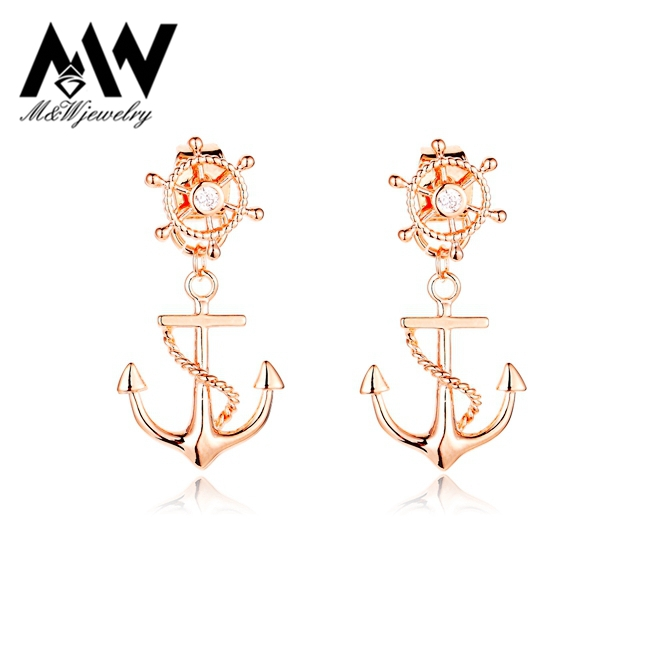 2015 New Rudder Anchor Stud Earrings Gold Plated Front and Back Double Sided Earrings for Women<br><br>Aliexpress