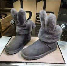 Envío Libre Australia botas de nieve de cuero del oído de conejo de lana de piel de oveja, además de terciopelo zapatos de algodón botas de nieve de cuero de las mujeres(China (Mainland))