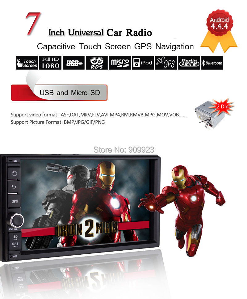 "8G map+7"" screen Android 4.4 Double two din Car Media Radio Stereo Audio GPS Navi Navigation HD Touch Screen Car Pc Multimedia(China (Mainland))"