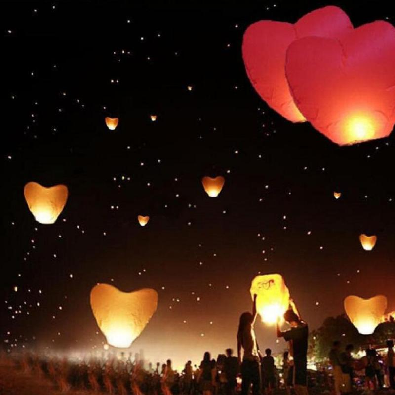 5Pcs a set Love Heart Sky Lantern Flying Wishing Lamp Hot Air Balloon Kongming Lantern Party Favors 90CM For Birthday Party 2017(China (Mainland))