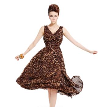 product VA New 2014 women summer leopard dress maxi dresses long chiffon casual midi dress woman sexy fashion floor-length dress