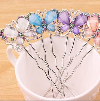 2014 Cute Korean fashion Style Rhinestone Butterfly Wave Hairpin,Hair Clip XY-H47(China (Mainland))