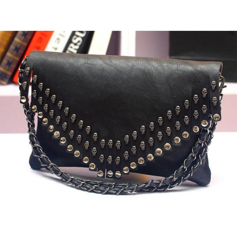 Female models packet 2016 new fashion rock style skull rivets tassels chains shoulder messenger bag small portable shoulder bag(China (Mainland))