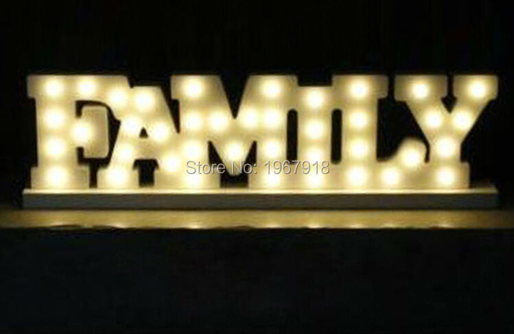 New Arrival!!! Standing Wooden LED Light Letters FAMILY Illuminated Home Wedding Decorations LED Marquee Sign Factory Supplier(China (Mainland))