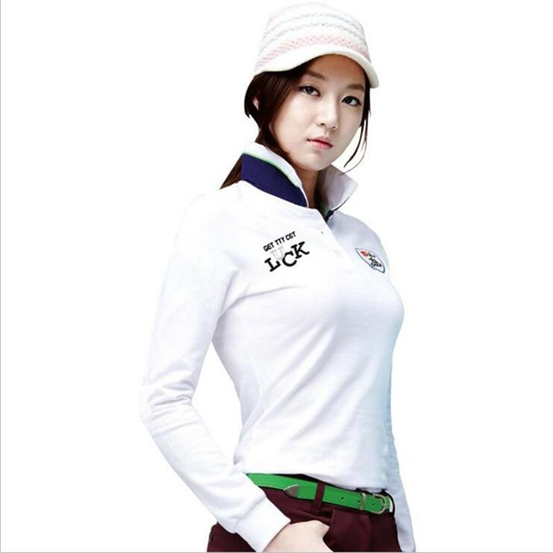 Korean Golf T Shirt Women Long Full Sleeves Fashions Spring and Autumn Women Polo Top Jerseys Quick Dry Golf T Shirts(China (Mainland))