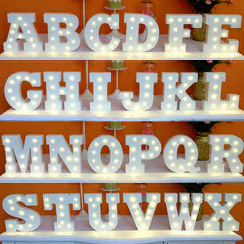 A-Z & White Wooden LED Letter Lights Sign Alphabet Night Lights Indoor Wall Desk Decor Craft For Wedding Birthday Party XHH8134(China (Mainland))