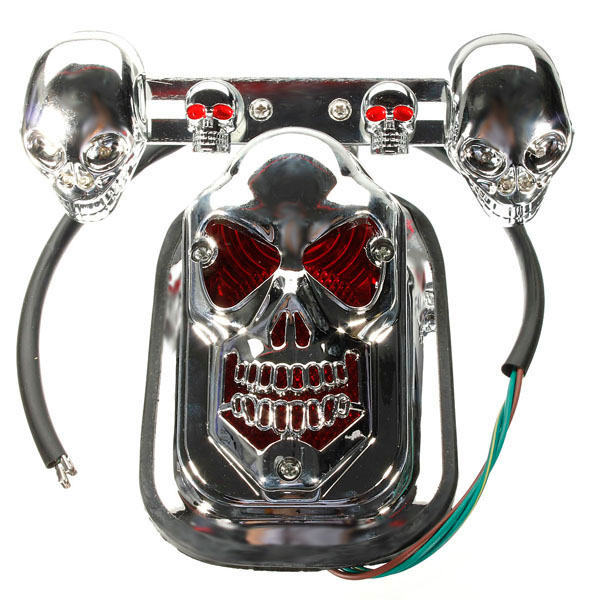 New 12V 20W High Quality Motorcycle Quad ATV Turn Signal &amp; Rear Brake Tail Light Chrome Skull<br><br>Aliexpress