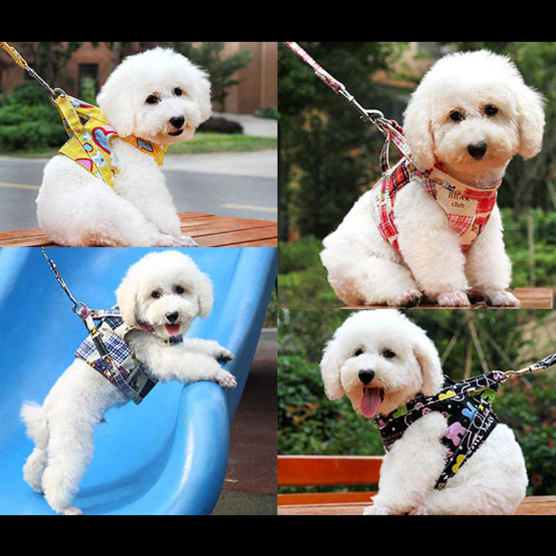 High Quality 4 colors Dog Harness Canvas Dog Puppy Vest Type Traction Rope Pet Leash Walking Tool S M L Free Shipping(China (Mainland))