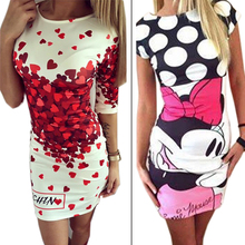 Vestidos 2016 Love Heart Print Slim Pencil Dresses Party Plus Size Women Clothing Cute Casual Bandage Bodycon Summer Dress Robe(China (Mainland))