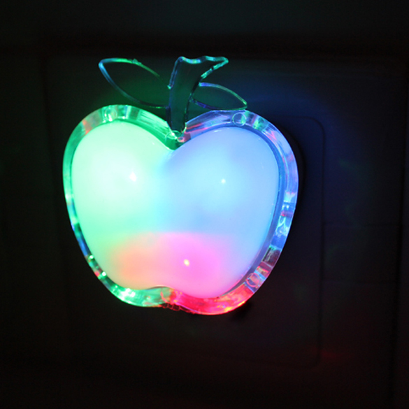 New US Plug Energy saving Apple Shaped Colorful LED Night light Bed Lamp Home Wall Lamp Nightlight For Kids Gift(China (Mainland))