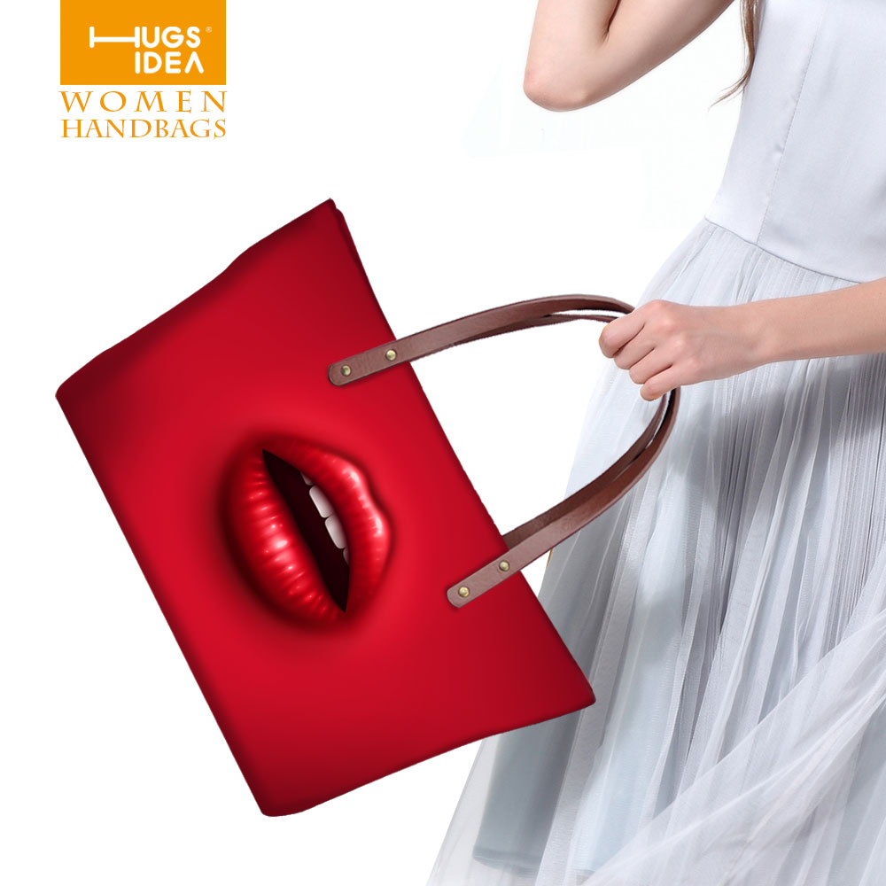 New Trendy Red Lips Brand Women's Shoulder Bags Casual Handbag Candy Color Portable Totes Simple Clutch Outdoor Shopping Bag(China (Mainland))