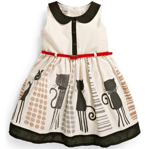 Гаджет  Kids Summer girls chiffon lace pearl collar sleeveless princess birthday dress None Детские товары