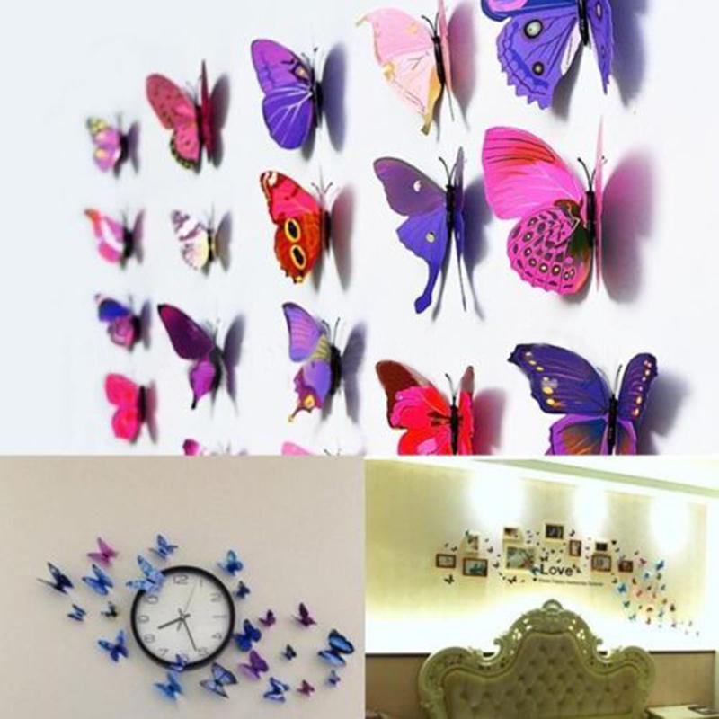 Fashion Trendy Random Color 24 PCS/Set 3D PVC Magnet Butterflies DIY Wall Sticker Refrigerator Home Decor Free Shipping(China (Mainland))