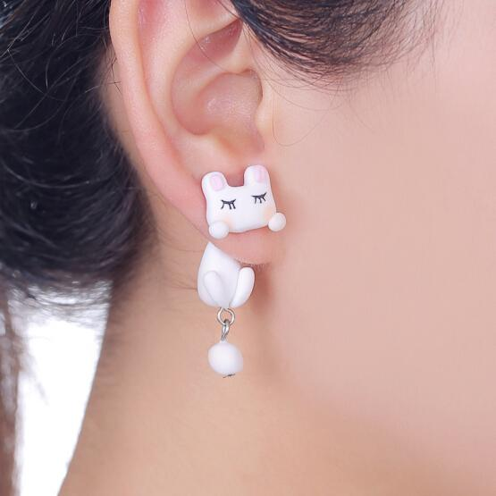 925 Silver Ear studs Front and back Polymer Clay Bunny Rabbit Awake or sleeping earrings Free Ship x 1Pair(China (Mainland))